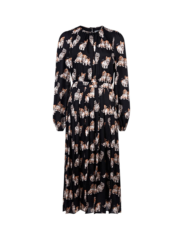 Купить Черное платье миди с длинными рукавами MSGM