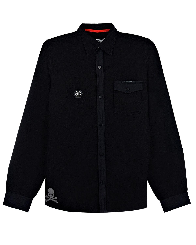 Купить Рубашка Philipp Plein детская, Черный, 100%хлопок