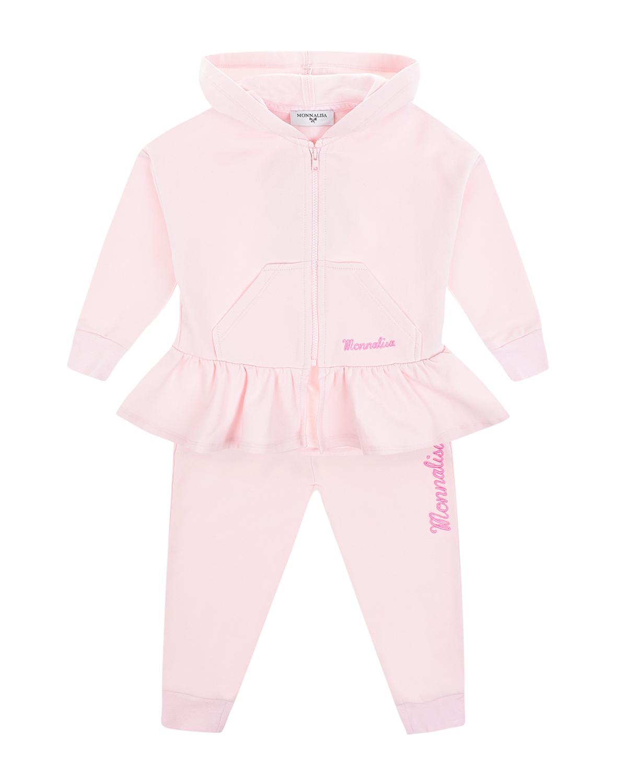 Купить Розовый спортивный костюм с оборкой Monnalisa детский, 95%хлопок+5%эластан