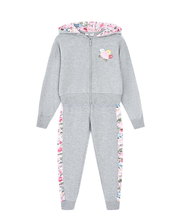 Купить Серый спортивный костюм с цветочным декором Monnalisa детский, 50%полиэстер+37%хлопок+8%вискоза+5%эластан, 100%полиэстер