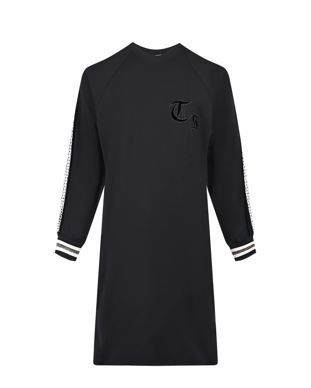 Купить Черное трикотажное платье с рукавами реглан TWINSET, Черный, 62%вискоза+33%полиамид+5%эластан, 94%полиэстер+4%эластан+2%металл.нить, 100%полиамид, 100%полиэстер