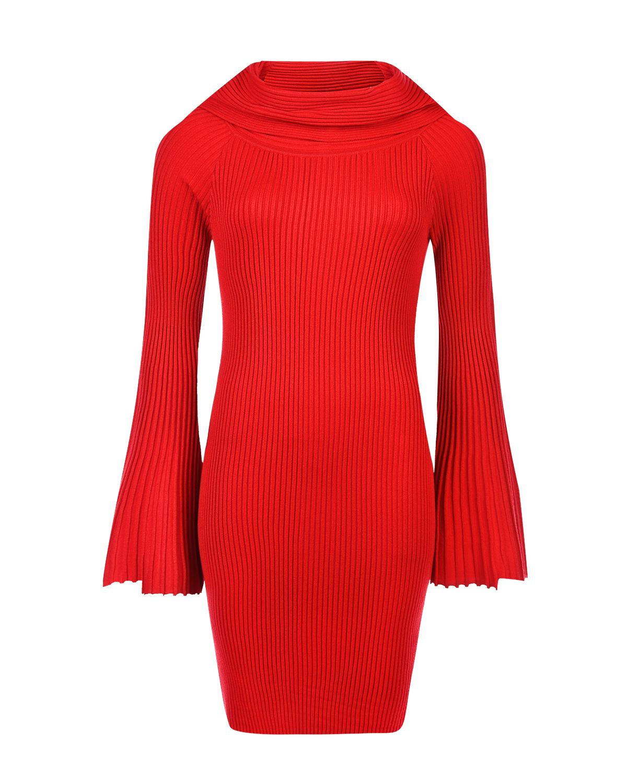 Красное трикотажное платье с рукавами клёш TWINSET фото