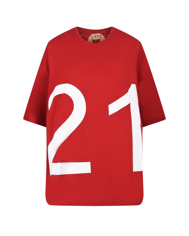 Купить Красная футболка с логотипом No. 21, Красный, 100%хлопок, 69%ацетат+31%шелк, 50%хлопок+35%шерсть+15%вискоза
