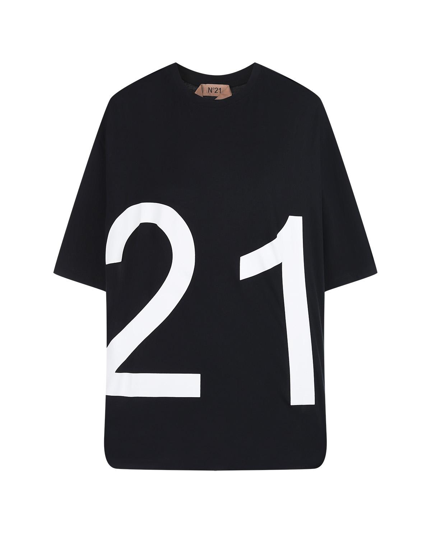 Купить Черная футболка с логотипом No. 21, Черный, 100%хлопок, 69%ацетат+31%шелк, 50%хлопок+35%шерсть+15%вискоза