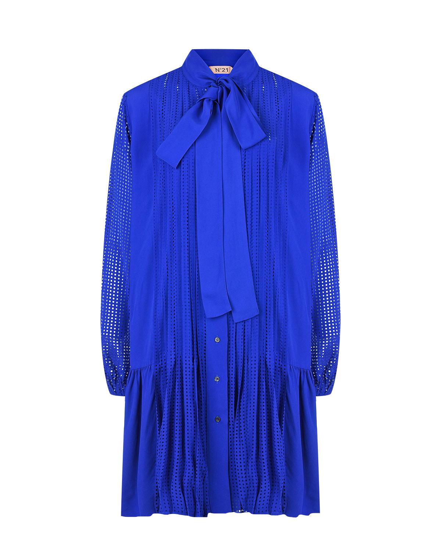 Синее платье с воротником аскот No. 21