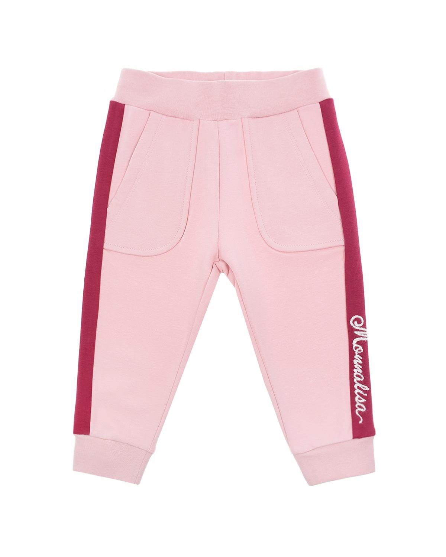 Купить Розовые спортивные брюки с бордовыми лампасами Monnalisa детские, Розовый, 95% хлопок+5% эластан