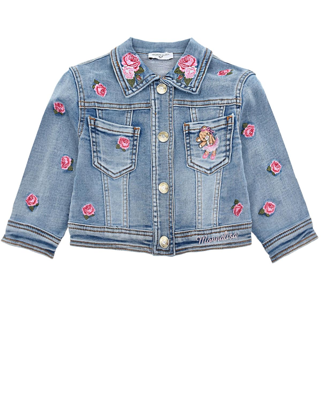 Купить Голубая джинсовая куртка с вышивкой Monnalisa детская, Голубой, 89% хлопок+9% полиэстер+2% эластан