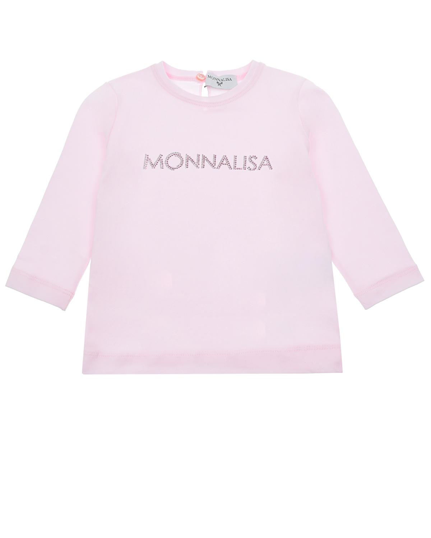 Купить Розовая толстовка с логотипом из страз Monnalisa детская, Розовый, 93% хлопок+7% эластан