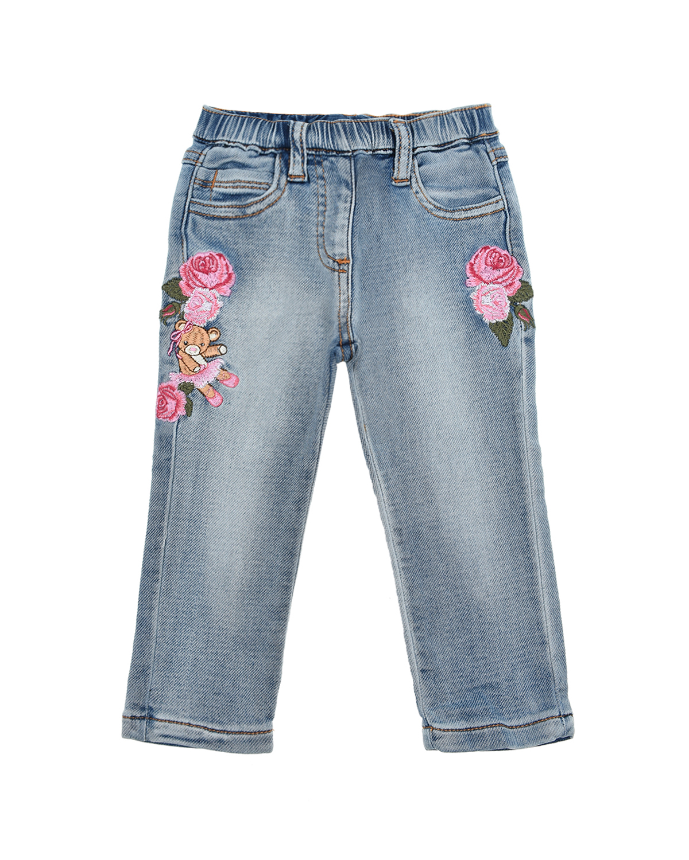 Голубые джинсы с аппликациями Monnalisa детские, Голубой, 89% хлопок+9% полиэстер+2% эластан  - купить со скидкой