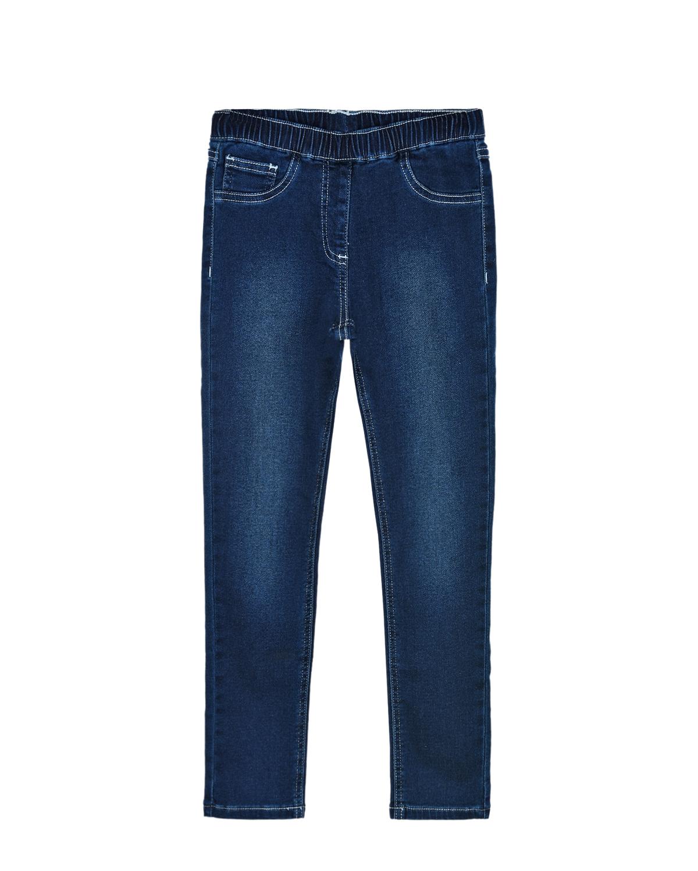Купить Синие джинсы с поясом на резинке Monnalisa детские, Синий, 89% хлопок+9% полиэстер+2% эластан