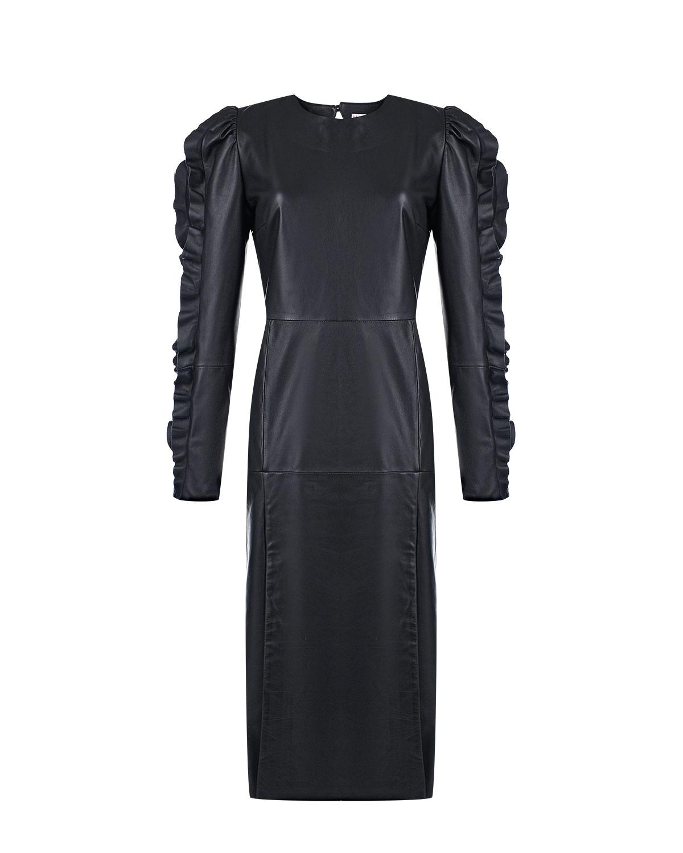 Купить Черное кожаное платье Red Valentino, Черный, 100%кожа, 95%ацетат+5%эластан