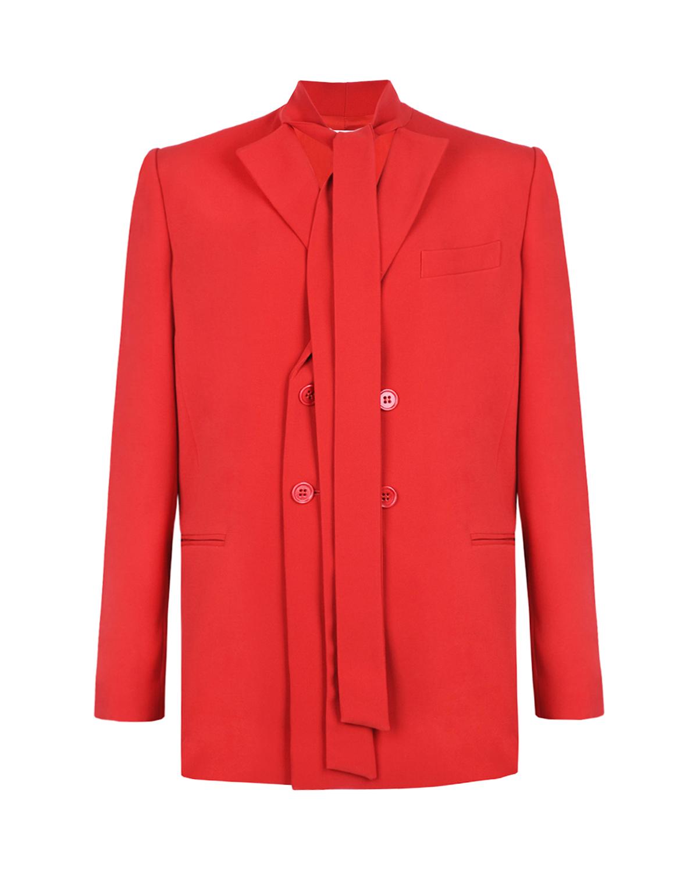 Купить Двубортный пиджак с завязками Red Valentino, Красный, 49% ацетат+47% вискоза+4% эластан, 64%ацетат+36%полиэстер