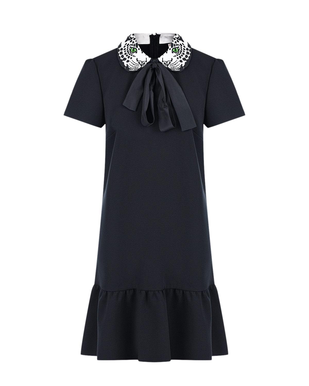 Купить Черное платье с леопардовым принтом на воротнике Red Valentino, Черный, 92% полиэстер+8% эластан, 100%хлопок, 100%полиэстер, 100%вискоза
