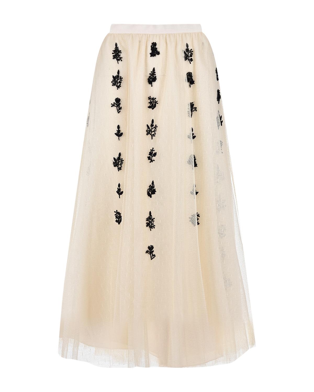 Купить Кремовая юбка с цветами из бисера Red Valentino, Кремовый, 100%полиамид, 100%полиэфирное волокно, 100%полиэстер