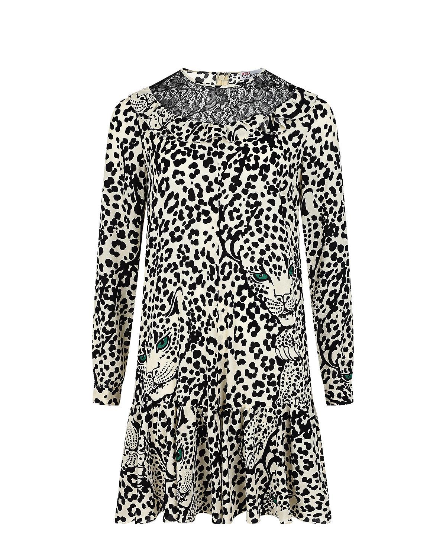 Купить Черно-белое платье с леопардовым принтом Red Valentino, Мультиколор, 98% полиэстер+2% эластан, 65%полиамид+35%вискоза, 64%ацетат+36%полиэстер