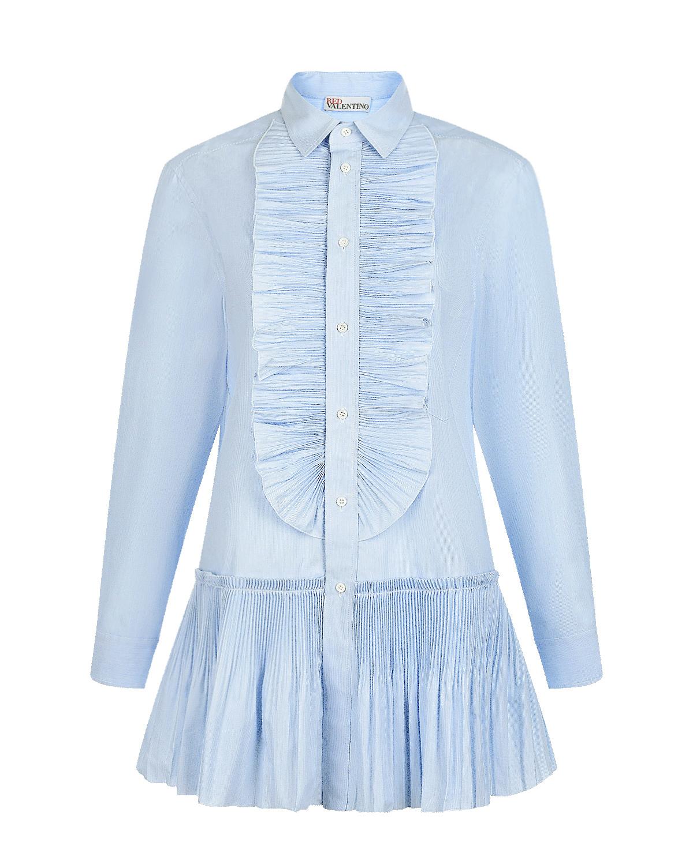 Купить Голубая рубашка с воланом по подолу Red Valentino, Голубой, 69% хлопок+31% полиэстер