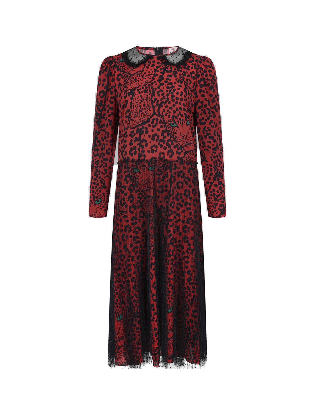Купить Красное платье с леопардовым принтом Red Valentino, Красный, 100% полиэстер, 98%полиэстер+2%эластан, 90%хлопок+10%полиамид