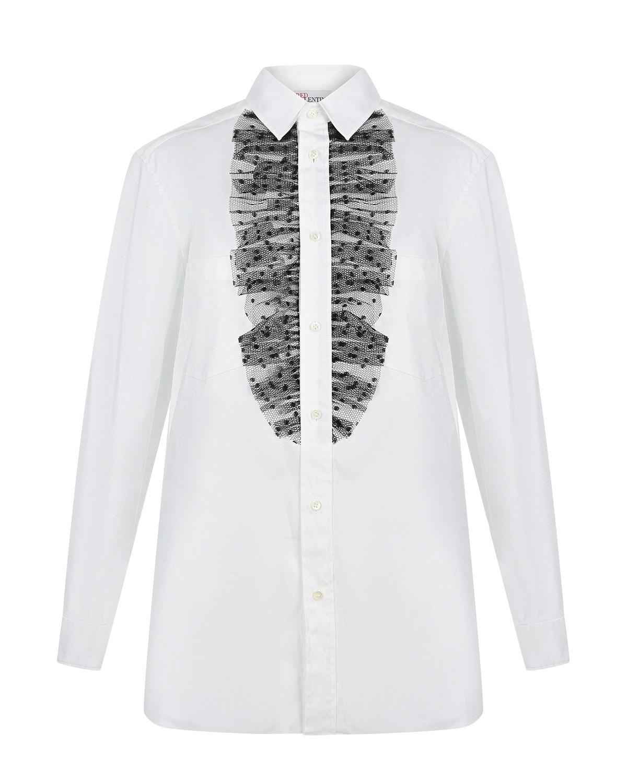 Купить Белая рубашка с кружевными оборками Red Valentino, Белый, 74% хлопок+21% полиамид+5% эластан, 100%полиэстер