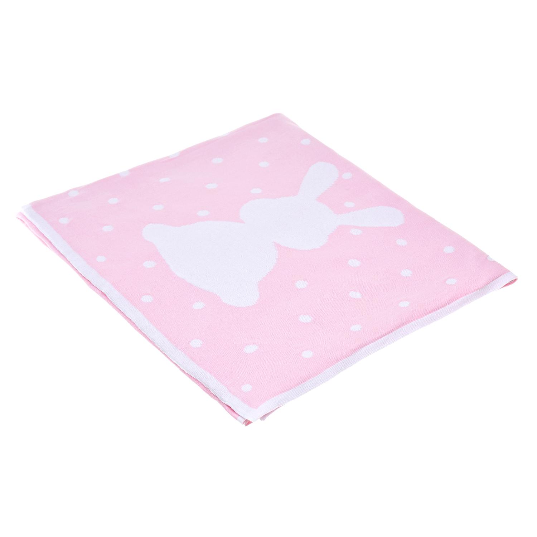 Купить Вязаный плед Зайка 150х100 см, розовый Jan&Sofie детский, Нет цвета, 100%хлопок