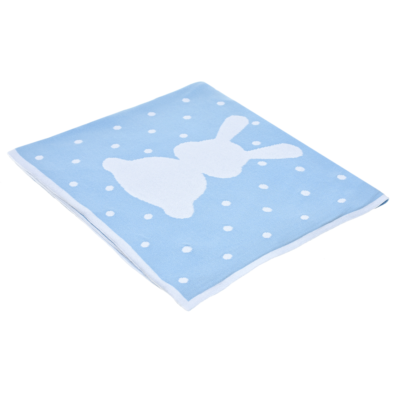 Купить Вязаный плед Зайка 150х100 см, голубой Jan&Sofie детский, Нет цвета, 100%хлопок