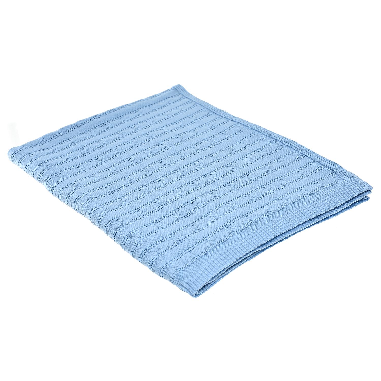 Купить Вязаный плед Косы 150х100 см, голубой Jan&Sofie детский, Нет цвета, 100%хлопок