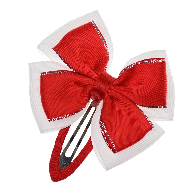 Заколка клик-клак с красным бантом Junefee детская фото