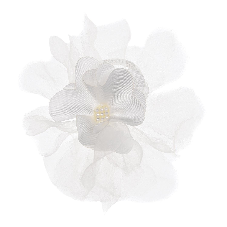 Белая резинка для волос с цветком Junefee детская фото