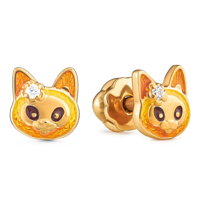 Купить Серьги пусеты Семейная Игривый котенок Namfleg, Нет цвета, серебро