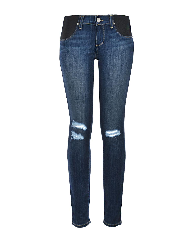 Синие джинсы для беременных с разрезами Paige.