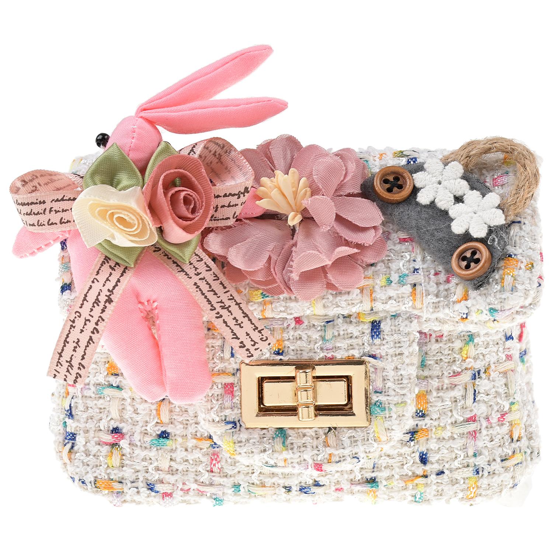 Белая сумка с цветами, 10x12x5 см Rena Chris детская цвет нет цвета