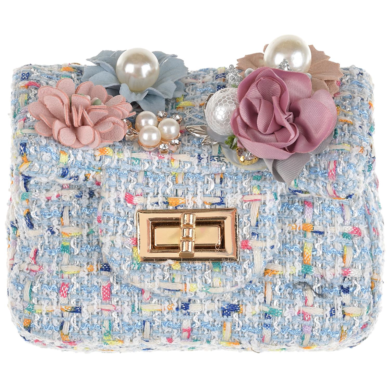 Голубая сумка с цветами, 10x12x5 см Rena Chris детская цвет нет цвета