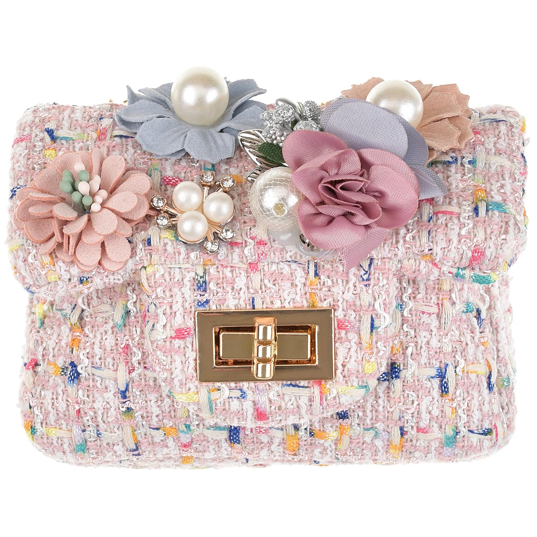 Розовая сумка с цветами, 10x12x5 см Rena Chris детская цвет нет цвета