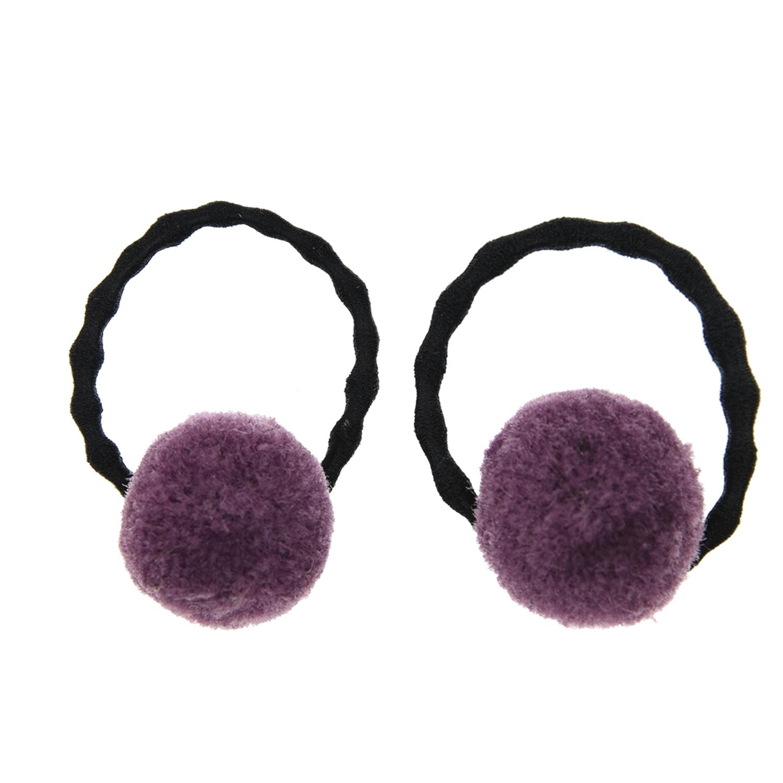 Купить Резинка для волос с фиолетовыми помпонами Tais детская, Нет цвета, см.на упак.
