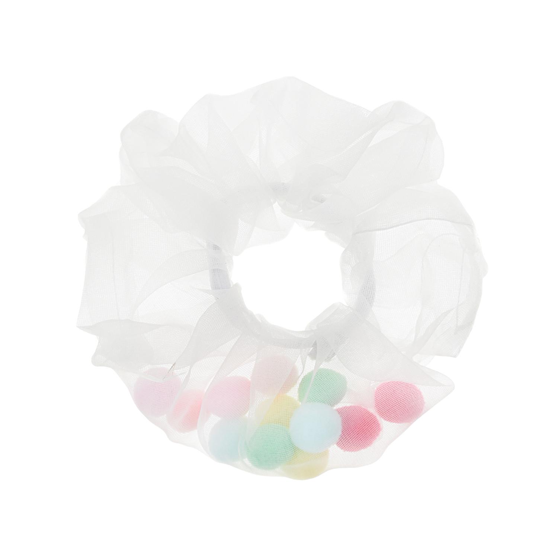 Купить Белая резинка для волос с разноцветными помпонами Tais детская, Нет цвета, см.на упак.