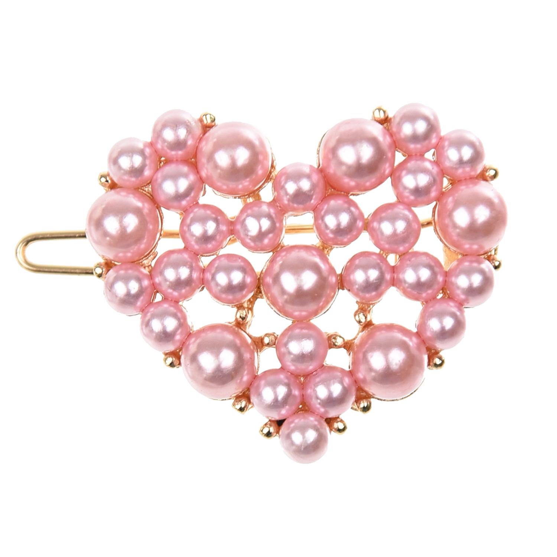 Купить Розовый зажим для волос с сердцем из бусин Tais детский, Нет цвета, см.на упак.