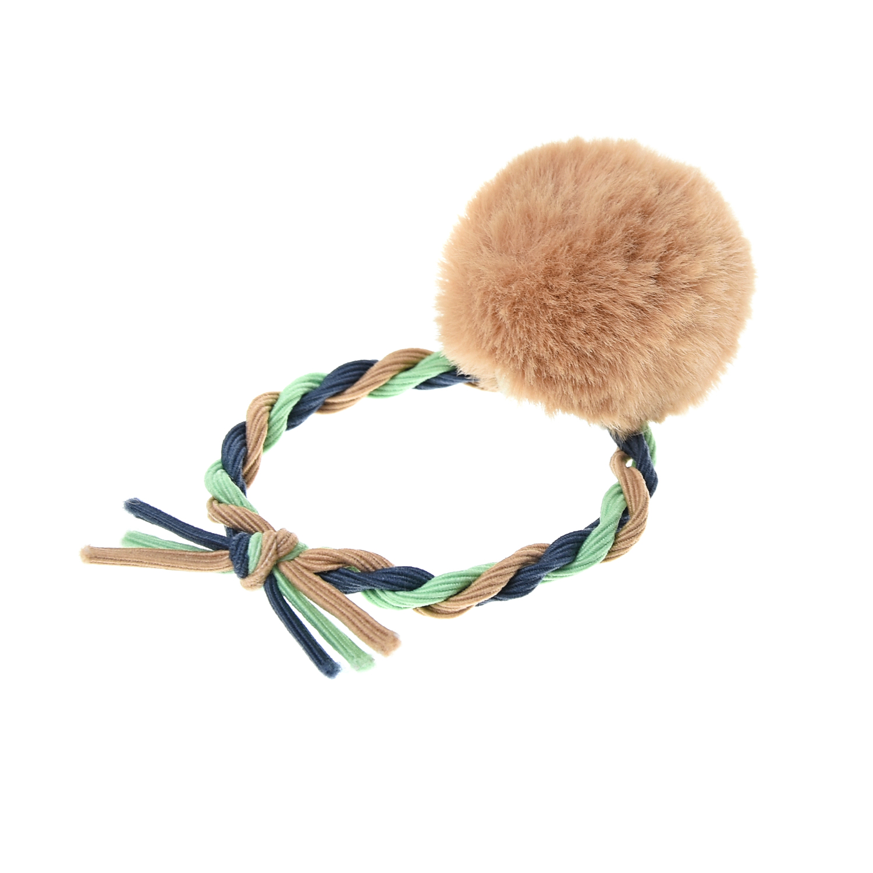 Купить Резинка для волос, бежевая Tais детская, Нет цвета, пластик, акрил, металл, текстиль