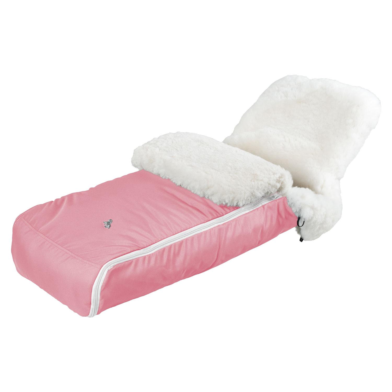 Купить Конверт Premium Welss овчина/белый мех, розовый Hesba, Нет цвета, натуральная овчина, мех