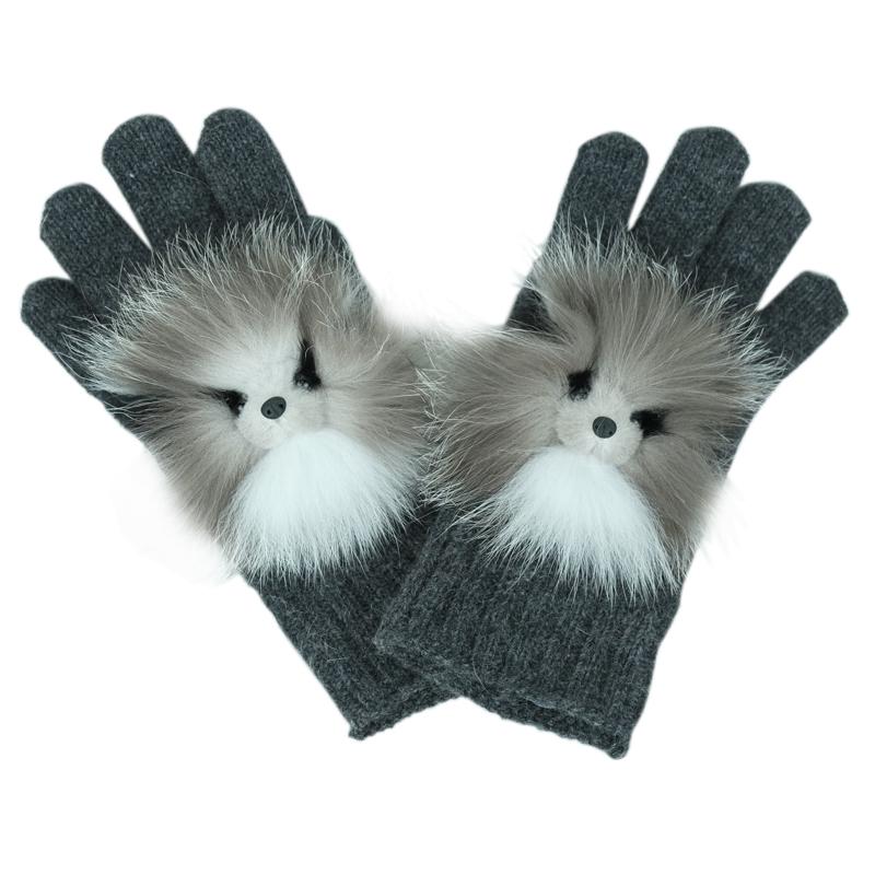 Купить Вязаные перчатки с натуральным мехом, р.М Carolon детские, Нет цвета, натуральный мех