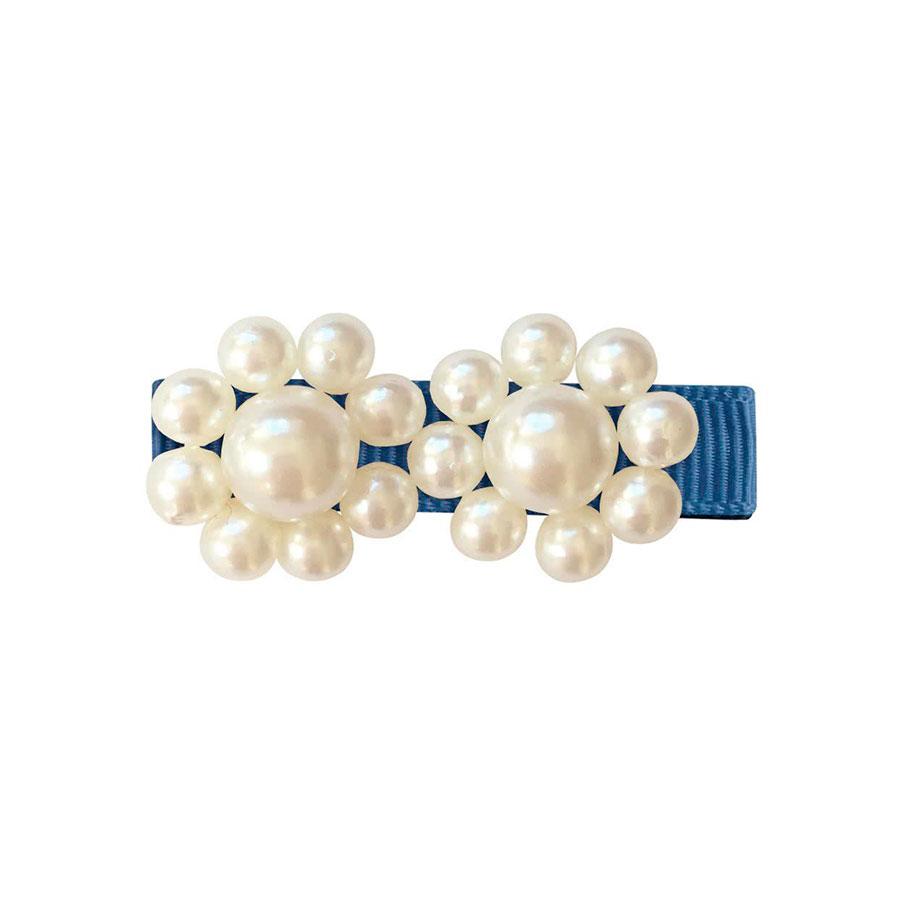 Купить Зажим для волос Pearl Flower двойная, коллекция Pearl Grasgrain , дымчатый синий Milledeux детский, Нет цвета, см. на уп