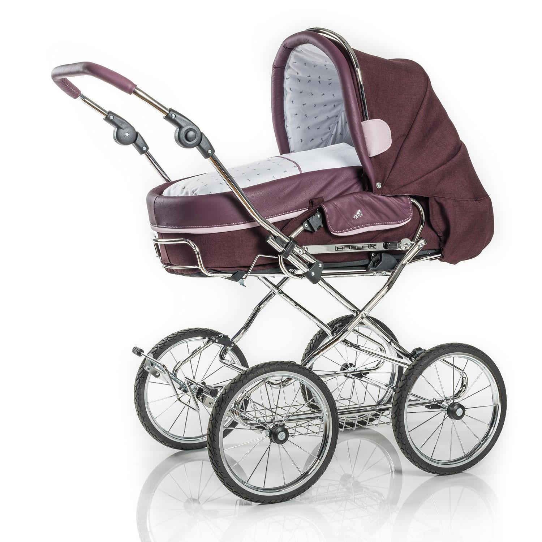 Купить Коляска 2 в 1 Hesba Condor Coupe Lux + сумка, ткань/кожа, бордовый, Нет цвета, см. на упаковке