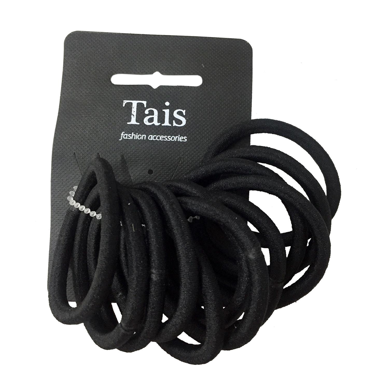 Купить Набор из двенадцати черных резинок Tais детский, Нет цвета, см. на уп.