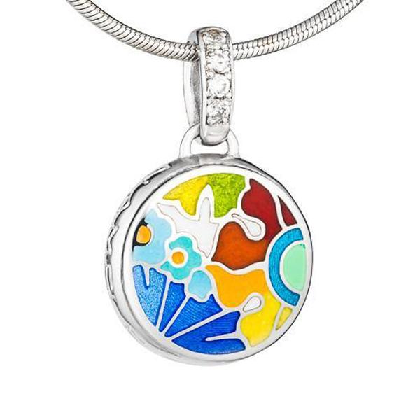 Купить Мини-кулон Цветы Пламенный мак Namfleg, Нет цвета, серебро 925 пробы, эмаль, родиевое покрытие