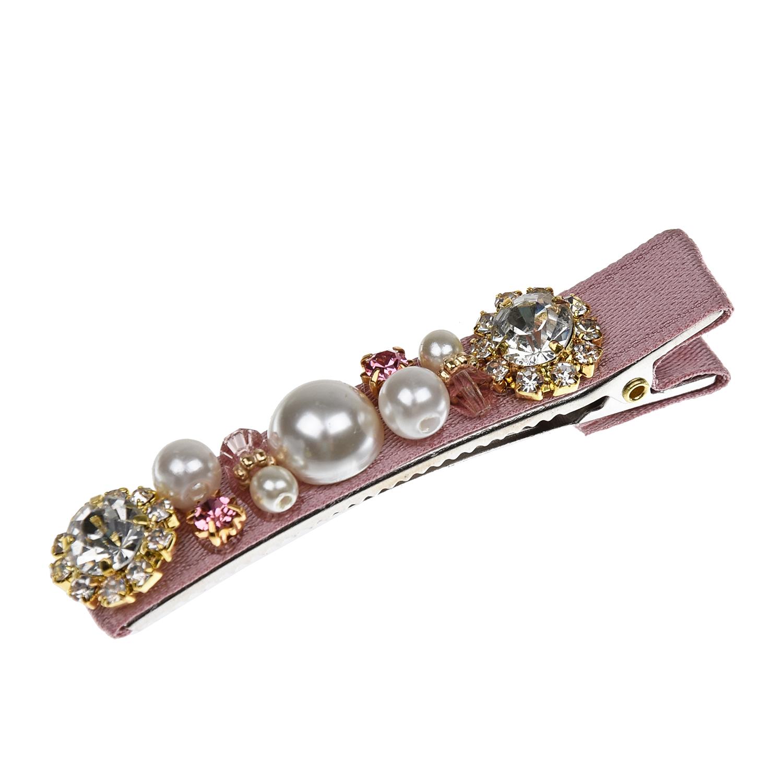 Купить Зажим для волос, розовый, 6x0, 6 см Tais детский, Нет цвета, Металл, атлас, кристаллы, искусственный жемчуг