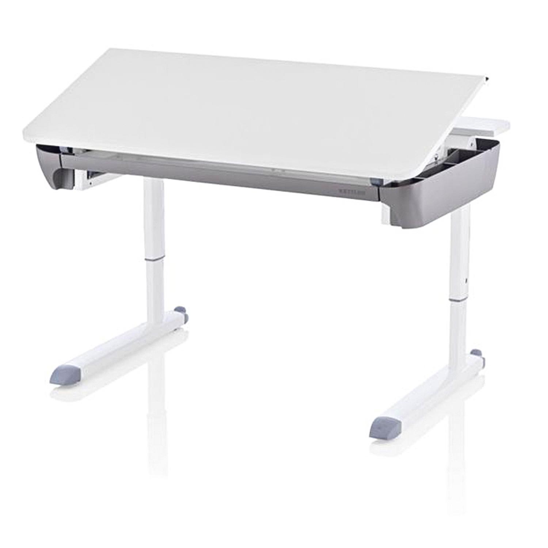 Парта MazeСтолы<br>Парта Kettler Maze оснащена бесступенчатой регулировкой по высоте. Это позволяет быстро установить письменный стол на нужною высоту. Достаточно лишь вставить поворотный рычаг в специальное отверстие и начать крутить и стол тут же начнет подниматься или опускаться, в зависимости в какую сторону вы крутите. Парта регулируется по высоте в диапазоне от 54 до 83 см, что позволяет разместиться за партой ребенку с ростом от 110 см или взрослому до 210 см. Также за партой Maze можно работать стоя ребенку с ростом от 90 до 150 см. У парты Maze регулируется угол наклона столешницы. Благодаря такой функции, ребенок будет писать и читать, сохраняя зрение и правильную осанку. На передней части ножек установлены специальные ролики, благодаря которым, парту можно с легкостью передвигать, не царапая пол. Специальное антивандальное покрытие столешницы позволит детям рисовать, клеить, лепить и заниматься другим творчеством, не боясь испортить или испачкать столешницу парты. Если малыш случайно испачкает столешницу, то достаточно просто протереть ее влажной тряпочкой и она снова станет чистой и опрятной. Парта Maze имеет выдвижной большой ящик для письменных принадлежностей, а также просторные, поворотные боковые отделения, в которых можно хранить книги, тетради и многое другое. У парты Maze имеется встроенный кабельный канал, скрывающий провода. Спереди парты имеются две полочки, на которые можно поставить монитор, светильник или что-нибудь еще. Также эти полочки являются защитными крышками встроенного кабельного канала. На передней кромке Maze закреплена планка-линейка, которую можно передвигать. Также ее можно использовать как упор против сползания с парты книг, тетрадей и альбомных листов. Высокое качество продукции позволяет утверждать, что данной партой можно пользоваться в течении долгих лет. При бережном уходе парта будет передаваться по наследству, как предмет за которым набирались знаний и делали первые успехи родители, бабушки и дедушки.