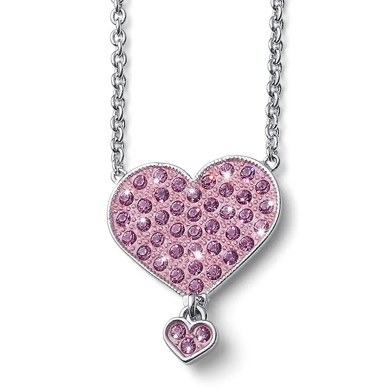 Купить Цепочка с кулоном Мечта Сердце , кристаллы SWAROVSKI, розовый Oliver Weber Collection детская, Нет цвета, латунь с родиевым покрытием