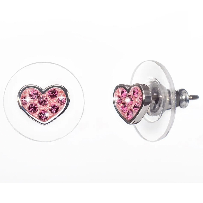 Купить Серьги Мечта Сердце , кристаллы SWAROVSKI, розовый Oliver Weber Collection детские, Нет цвета, латунь с родиевым покрытием