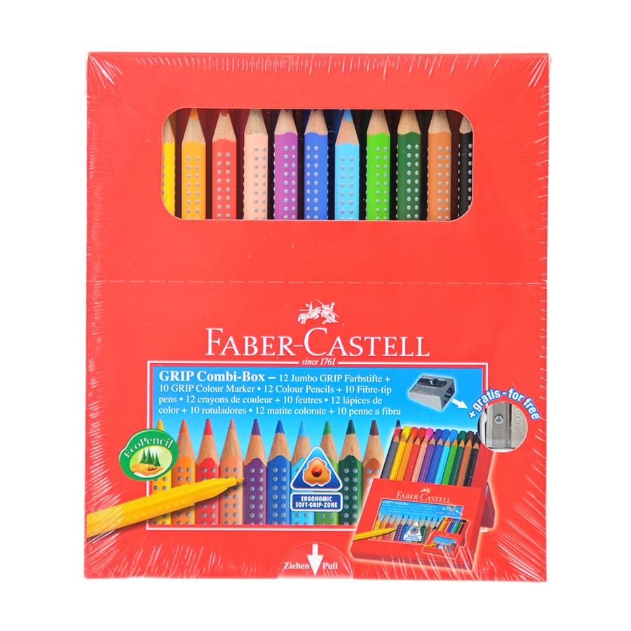 Карандаши Faber-Castell цветные Jumbo Grip + фломастеры + точилкаРучки, карандаши, фломастеры<br><br>