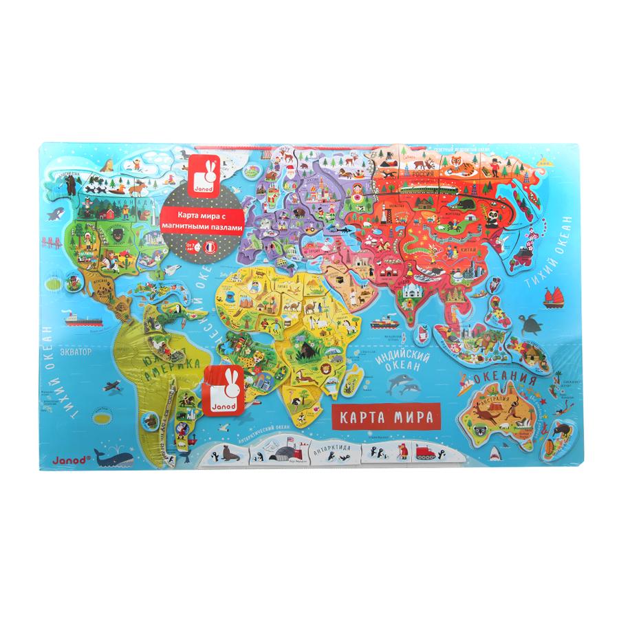 Пазл Janod Карта мира с магнитмагнитами на русс.яз 92 элемента