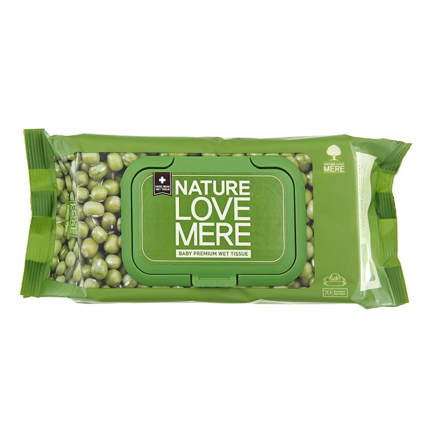 Влажные салфетки Nature Love Mere Mung bean wet tissue 70 шт/уп