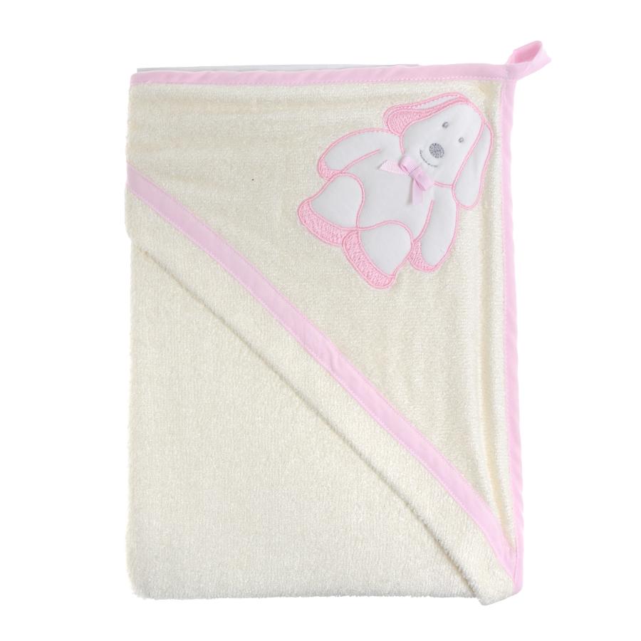 Полотенце Picci Sugar на капюшоне собачка, розовая оборка